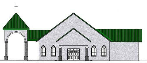 North elevation of King of Peace's new building