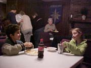James and Griffin eating dinner
