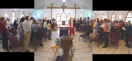 panoramic view of our worship yesterday taken during the closing hymn