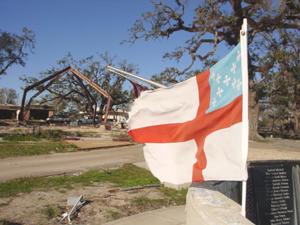 An Episcopal flag flies from the ruins of a Hurricane Camille memorial which was on the grounds of Redeemer