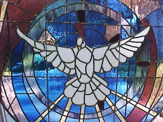 stained glass at King of Peace