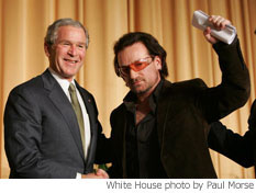 Bush and Bono at the National Prayer Breakfast