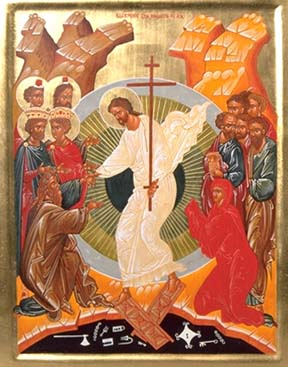 icon showing the resurection after Christ's descent among the dead