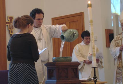 Pouring Water for Mary's baptism