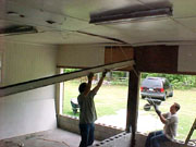 Lowering a beam in the garage