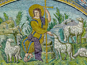 a fifth century depiction of Jesus as Good Shepherd