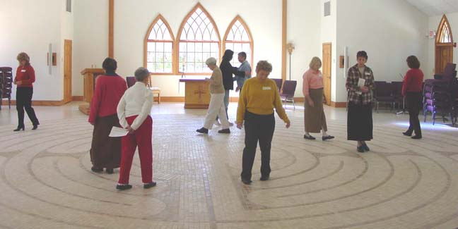 The Daughters of the King Group from Christ Church walks our labyrinth together