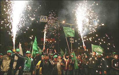 Hamas supporters celebrate