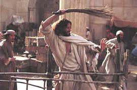 Jesus driving out merchants
