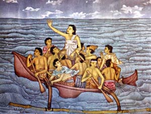a Malaysian painting of Jesus calming the storm