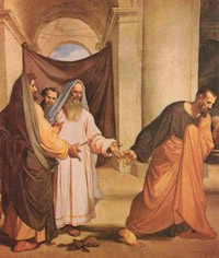 Judas throws down the coins and runs out of the Temple