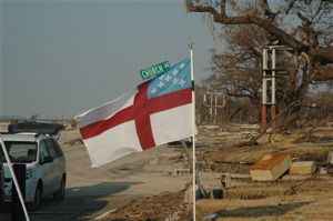 Episcopal Flag in front of St. Marks