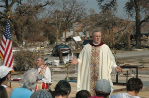 Worship service at St. Marks, on their slab