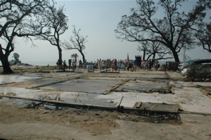 The slab foundation is all that remains of St. Marks, Gulfport, MS