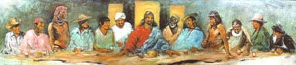 Hyatt Moore's Last Supper with 12 Tribes which hangs in King of Peace's entry hall