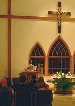 Jim Ferguson singing from the Messiah during Tenebrae