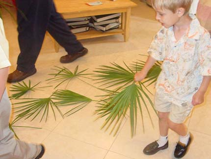 Andrew drops his palm branch along with others in the entry hall