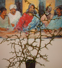 Thorn arrangement in front of our painting of The Last Supper