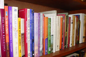 some of the books in King of Peace's lending library