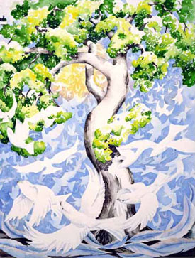 Leigh Ellis' watercolor, Peace Tree