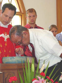 Roger Laviner is baptized