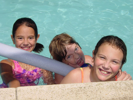 Having fun in the pool once the sun came out