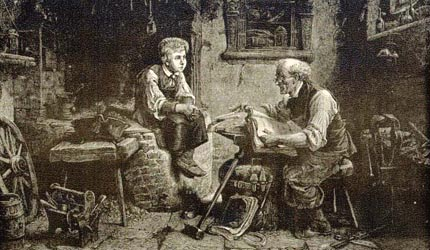 Reading the Bible in a blacksmith's shop