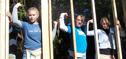 Ashley, Kalyn and Griffin on a Youth Group trip to work on a Habitat House