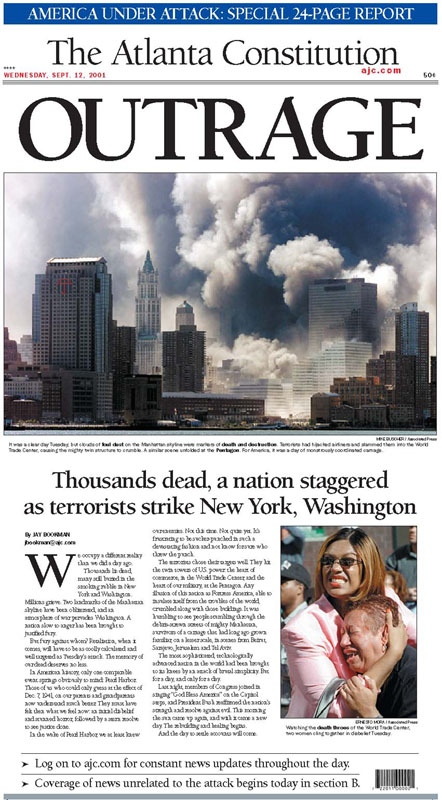 AJC front page from 9-12-01