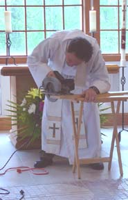sawing during the sermon